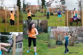 Sportlich! Alle gezeigten Kleidungsstücke (mit Ausnahme der Kletterschuhe) sind vom Frauen Second Hand in Allach. Valentina spielt Frisbee, Anna spielt Hockey, Franziska klettert.
